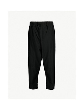 Tapered Dropped Crotch Wool Poplin Trousers by Issey Miyake
