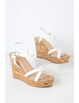 Darlene White Wedge Sandals by Lulus