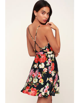 Here's My Heart Black Floral Print Satin Skater Dress by Lulus
