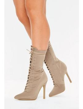 Nude Lace Up Stiletto Heel Ankle Boots by Missguided