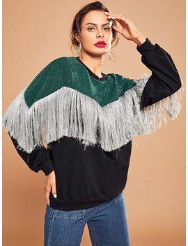 Fringe Trim Pullover by Shein