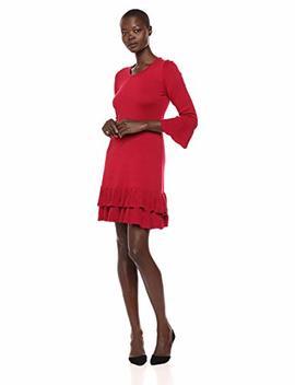 Nine West Women's Bell Sleeve Sweater Dress Ruffle Hem by Nine West