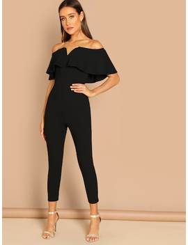 Off Shoulder Ruffle Skinny Jumpsuit by Shein