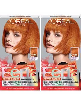 L'oréal Paris Feria Multi Faceted Shimmering Permanent Hair Color, C74 Intense Copper (2 Count) Hair Dye by L'oreal Paris