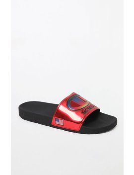 Champion Ipo Metallic Red Slide Sandals by Pacsun