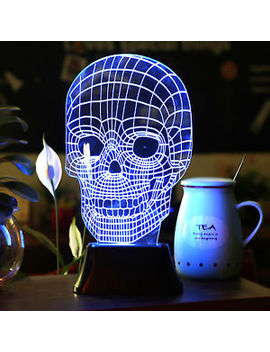 3 D Illusion Bulbing Skull Lamp Acrylic Led Night Light Micro Usb Table Desk Lamp by Hompo