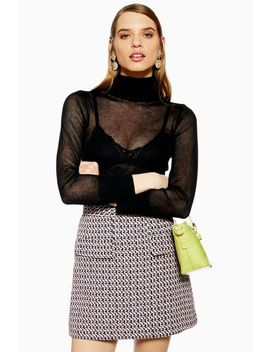 Sheer Knitted Roll Neck Jumper by Topshop