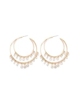 Rhinestone Double Hoop Earrings by Forever 21