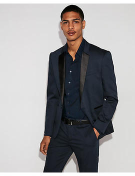 Extra Slim Blue Satin Lapel Tuxedo Jacket by Express