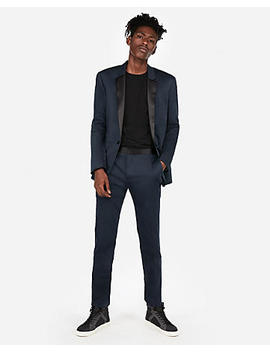 Extra Slim Navy Cotton Sateen Satin Accent Tuxedo Pant by Express