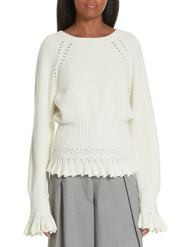 Pointelle Detail Ruffle Trim Sweater by Opening Ceremony