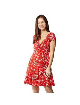 Izabel London   Red Floral Cap Sleeve Frill Wrap Dress by Izabel London
