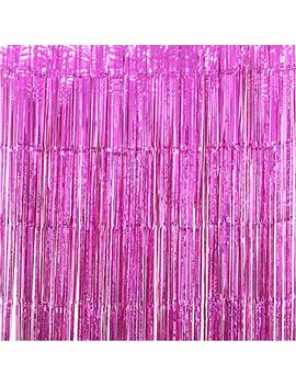 Utopp 2 Pack Hot Pink Foil Fringe Curtains Photo Backdrop, 3ft X 8ft Shiny Metallic Tinsel Party Door Curtain Photo Booth Props For Birthday Wedding Bridal Baby Shower Party Decorations by Utopp