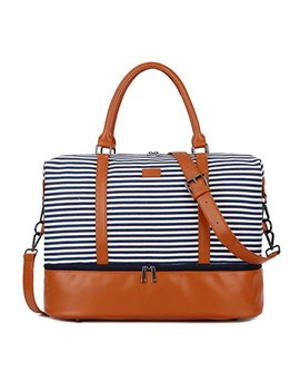 Baosha Hb 28 Ladies Women Canvas Travel Weekender Overnight Carry On Shoulder Duffel Tote Bag With Pu Leather Strap (Blue Strips With Shoe Compartment) by Baosha
