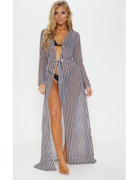Black & White Stripe Beach Kimono by Prettylittlething