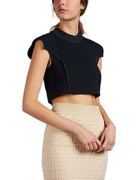 Logo Rib Knit Crop Top by Fendi