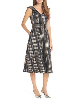 Belted Plaid Midi Dress by 1901