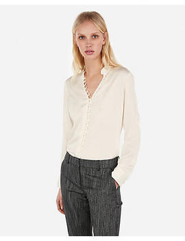 Slim Ruffle Covered Button Portofino Shirt by Express
