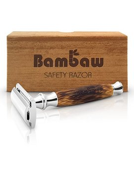 Double Edge Safety Razor With Long Natural Bamboo Handle | Safety Razor Wood | Eco Friendly | For Men Or For Women | Sustainable And Durable | Saftey Razor | Bambaw by Bambaw