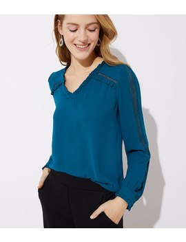 Eyelet Sleeve Ruffle Blouse by Loft