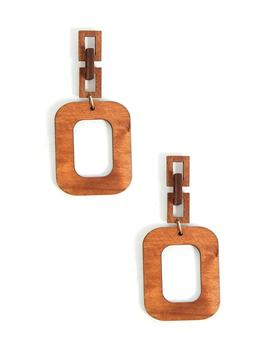 Wooden Hoop Drop Earrings by Forever 21