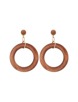 Wood Drop Hoop Earrings by Forever 21