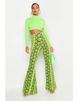 Neon Snake Wide Leg Trouser by Boohoo