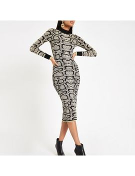 Brown Snake Print High Neck Fitted Dress by River Island