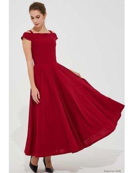 Red Maxi Dress, Off Shoulder Dress, Long Linen Dress, Pleated Dress, Prom Dress, Womens Dresses, Summer Dress, Fitted Dress, Gift Ideas 2102 by Etsy