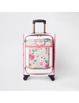 Light Pink Floral Print Four Wheel Suitcase by River Island