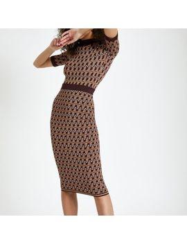 Brown Ri Monogram Midi Skirt by River Island