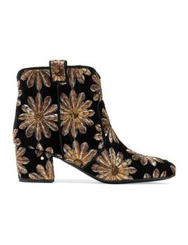 Sequined Embroidered Velvet Ankle Boots by Laurence Dacade