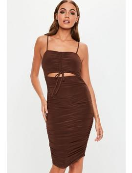 Chocolate Cut Out Strappy Slinky Ruched Mini Dress by Missguided