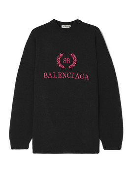 Embroidered Wool And Cashmere Blend Sweatshirt by Balenciaga