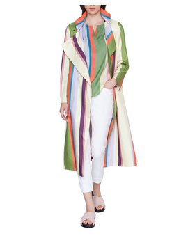 Memphis Glass Striped Raincoat by Akris Punto