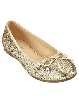 John Lewis & Partners Children's Isabella Glitter Ballet Pumps, Gold by John Lewis & Partners