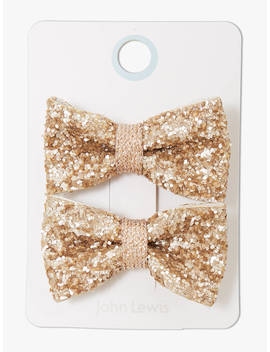 John Lewis & Partners Heirloom Collection Children's Glitter Bow Hair Clips, Pack Of 2, Gold by John Lewis & Partners Heirloom Collection