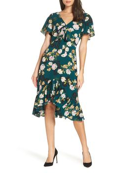Floral Print Ruffle Hem Dress by Charles Henry