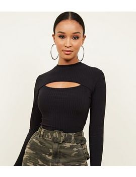 Black Ribbed Cut Out Bodysuit by New Look
