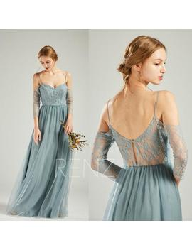 Party Dress Dusty Blue Tulle Bridesmaid Dress Off Shoulder Maxi Dress Sweetheart Long Formal Dress 3/4 Sleeves Lace A Line Prom Dress(Hs723) by Etsy