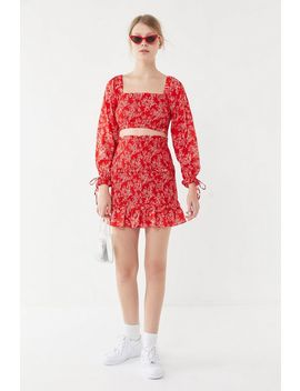 Uo Victoria Smocked Cropped Top by Urban Outfitters