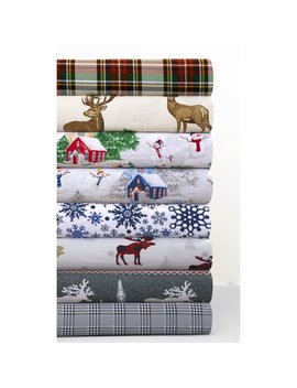 Tribeca Living Plaid Moose Printed Flannel Extra Deep Pocket Sheet Set Cal King by Tribeca Living
