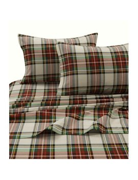 Tribeca Living Charleston Plaid Printed Flannel Extra Deep Pocket Sheet Set King by Tribeca Living