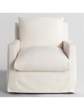 Ivory Feather Filled Swivel Brynn Armchair by World Market