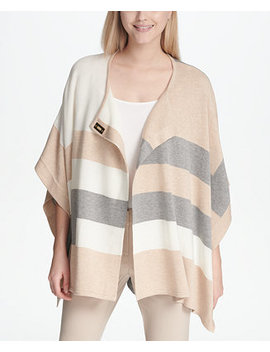Striped Poncho Sweater by Calvin Klein