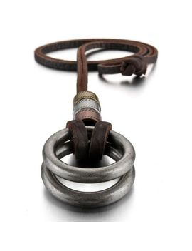 Mendino Men's Women's Alloy Leather Pendant Necklace Double Ring Cord Adjustable by Mendino