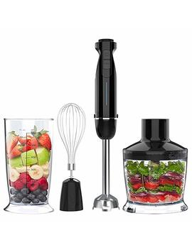Nuovoware Hand Blender, 6 Speed Hand Mixer Stainless Steel Blender Stick Include Chopper And Egg Whisk For Baby Food & Kitchen Use   Black + Silver by Nuovoware