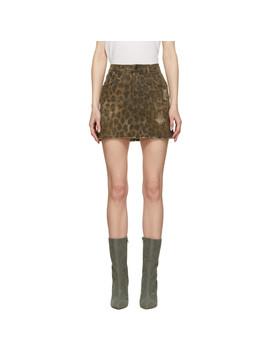 Brown Denim Leopard High Rise Miniskirt by R13