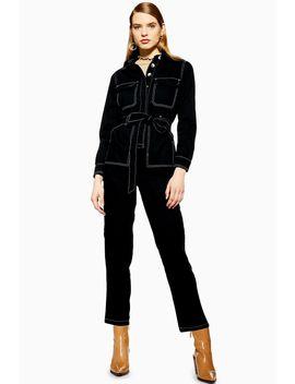 Black Denim Boiler Suit by Topshop