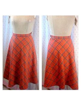1970's Classic Vintage Orange Plaid/Checked A Line Wool Blend Skirt/Autumn/Spring/Separates. by Etsy